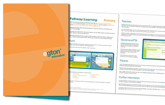 Folder and inserts for Egton Educatiton to promote new services to existing clients